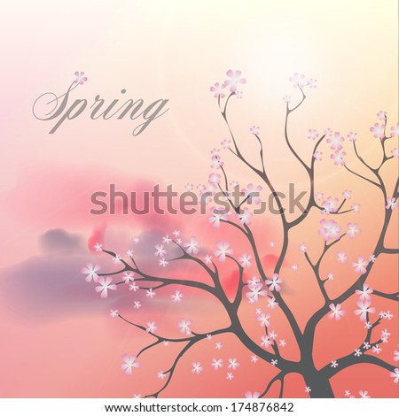 Beautiful Flowering Japanese Cherry Blossom Tree with Flowers on a Spring day - Vector Illustration