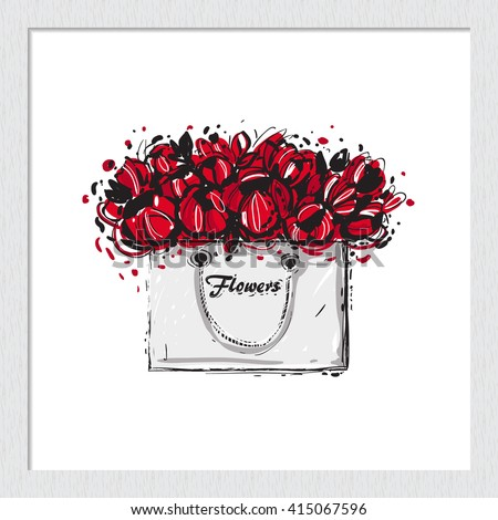 Beautiful flowers bag vector hand drawn fashion sketch. Label with glamour vogue flowers bag. Isolated element on white backdrop in wooden frame. Fashion vector illustration. - stock vector