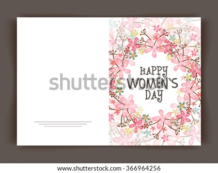 Beautiful flowers decorated greeting card design for Happy Women's Day celebration. - stock vector