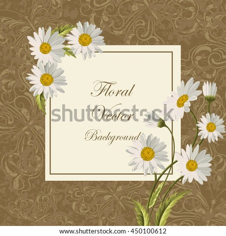 Beautiful flowers for invitation card. Vintage frame with butterflies. Vector illustration.
