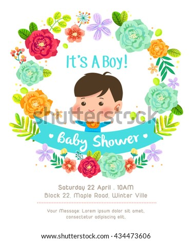 Beautiful Flowers Frame For Baby Shower Invitation Card For Baby Boy