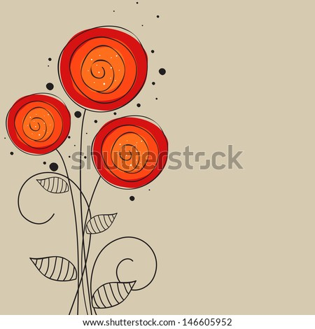 Beautiful flowers on abstract background. - stock vector