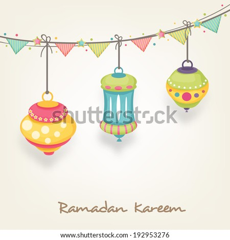 Beautiful flyer, poster or banner design with hanging colourful arabic lamps or lanterns on brown background for holy month of Ramadan Kareem. - stock vector