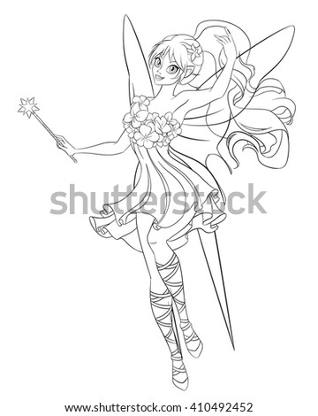 Beautiful flying fairy with magic wand. Print for the coloring book. Line art vector illustration. - stock vector