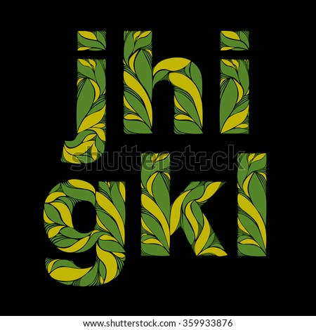 Beautiful font with herbal ornament. Green capital letters decorated with spring floral pattern. G, h, I, j, k, l, lowercase letters. - stock vector