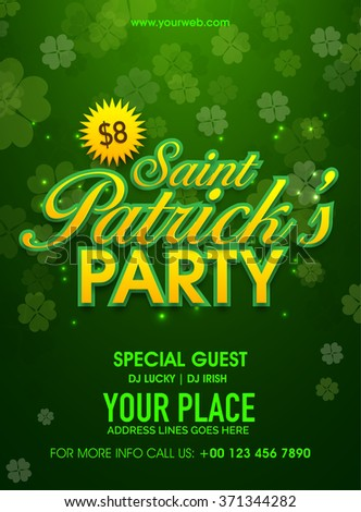 Beautiful four leaves clovers decorated green pamphlet, banner or flyer design for St. Patrick's Day Party celebration. - stock vector