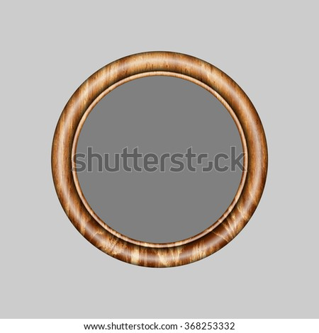beautiful frame for your favorite pictures  round frame made of precious wood for paintings, portraits and other. vector illustration . To work designers