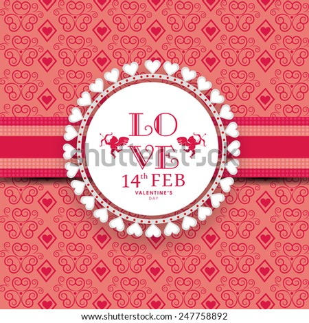Beautiful frame with text Love for 14th Feb, Happy Valentines Day celebration on seamless floral background. - stock vector