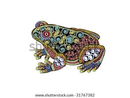 beautiful frog in the ethnic style on a white background - stock vector