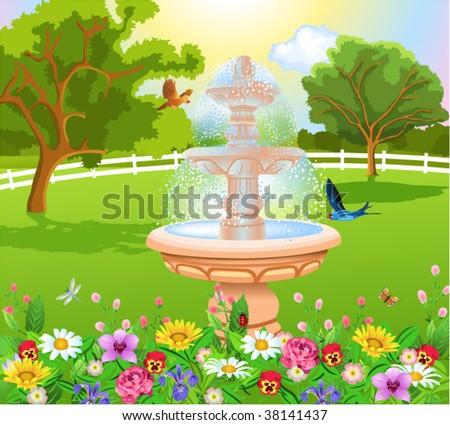 beautiful garden with fountain - stock vector