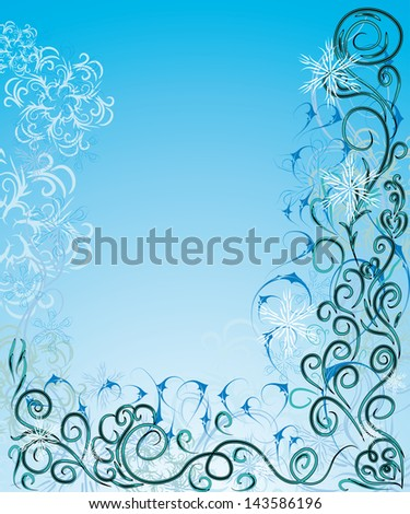 beautiful gentle winter frame for your design - stock vector