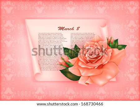 beautiful gift card with pastel rose and gift bows, may be used as a Woman's Day congratulation  - stock vector