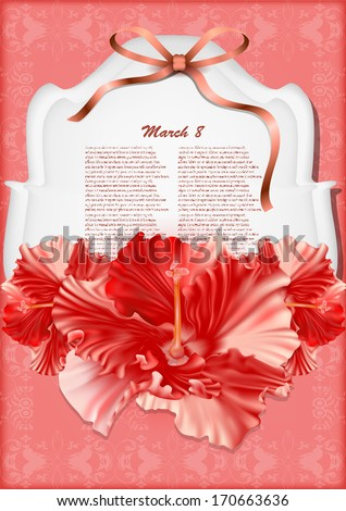 Beautiful gift card with red hibiscuses  - stock vector