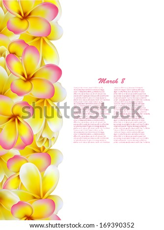 Beautiful gift card with yellow and pink plumerias , may be used as a Woman's Day congratulation  - stock vector