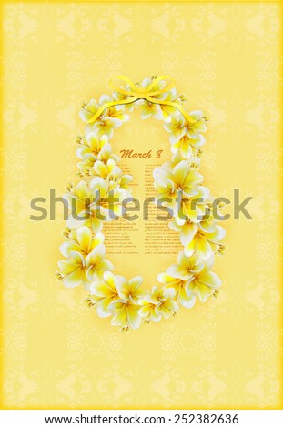 Beautiful gift card with yellow  plumerias , may be used as a Woman's Day congratulation  - stock vector