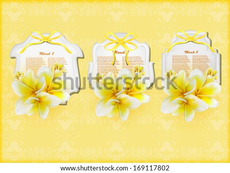 Beautiful gift cards with yellow plumerias , may be used as a Woman's Day congratulation  - stock vector