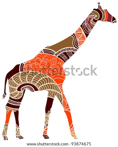 beautiful giraffe in ethnic style is a symbol of wild Africa - stock vector