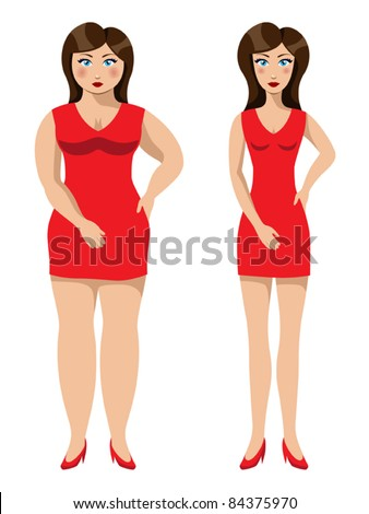 Beautiful girl before and after a diet or a weight loss, vector illustration - stock vector