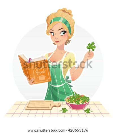 Beautiful girl cook food with cookbook vector illustration isolated white background housewife cooking in kithen woman meal