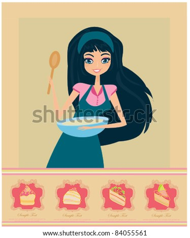 beautiful girl cooking - stock vector
