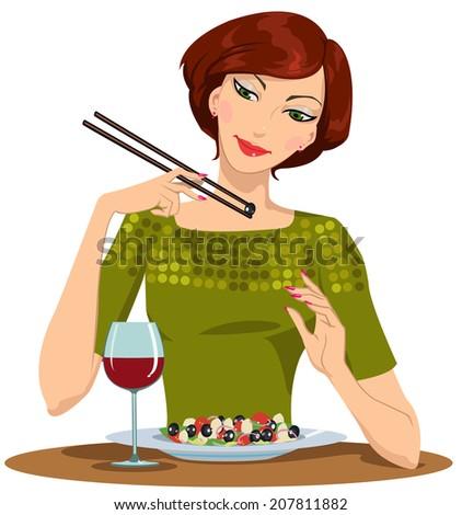 beautiful girl dines - stock vector