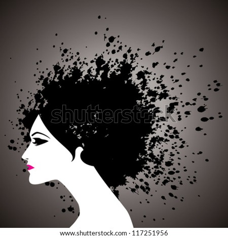 beautiful girl face silhouette with black hair splashes
