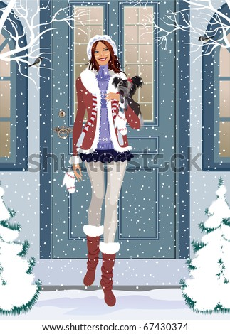 Beautiful girl from going outside for a walk with a small dog - stock vector