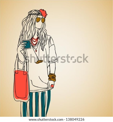 Beautiful girl / hipster fashion / young woman/ illustration, vector - stock vector