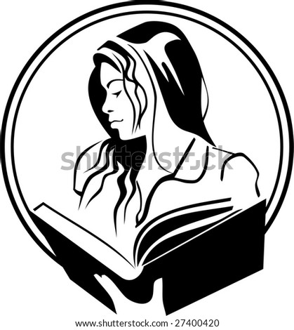 beautiful girl is reading a book - stock vector