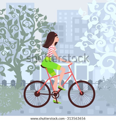 Beautiful girl is riding on a bicycle in a city. - stock vector