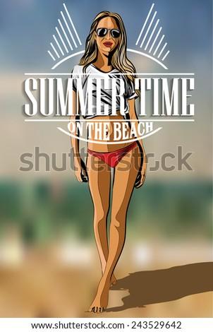 Beautiful Girl  On The Beach - Vector Illustration - stock vector
