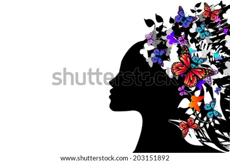 beautiful girl silhouette with butterfly. Vector