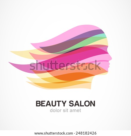 Beautiful girl silhouette with colorful streaming hair. Abstract design concept for beauty salon, massage, cosmetic and spa. Vector logo design template.   - stock vector