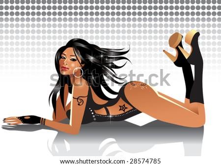 Beautiful girl (vector) - stock vector