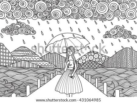Beautiful Girl Walking On Bridge While Stock Vector 431064985 ...