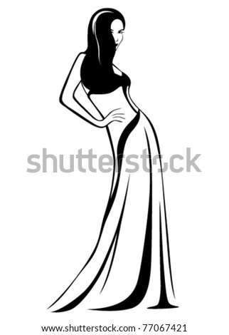 beautiful girl wearing a gown - stock vector