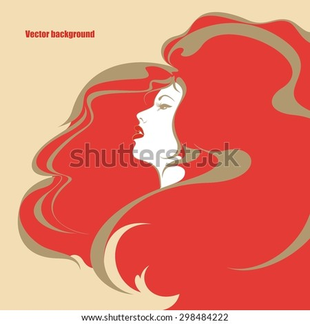 Beautiful girl with awesome fiery hair. - stock vector