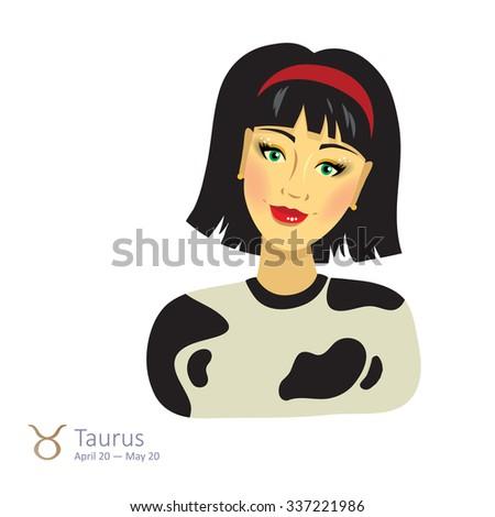 Beautiful girl with bob haircut - taurus. Horoscope. Astrology. Vector isolated illustration. Cartoon characters. Sign of the zodiac. - stock vector
