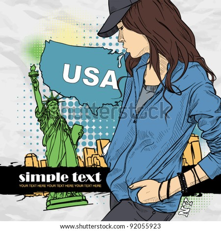 Beautiful girl with cap in sketch-style on a usa-background. Vector illustration. Place for your text. - stock vector