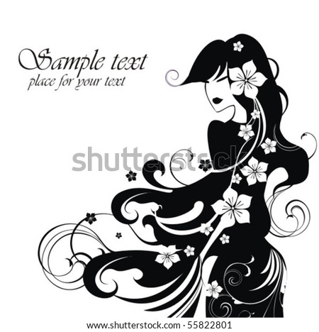 Beautiful girl with flowers - stock vector