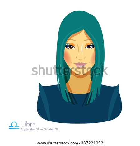 Beautiful girl with green hair - libra. Horoscope. Astrology. Vector isolated illustration. Cartoon characters. Sign of the zodiac.  - stock vector