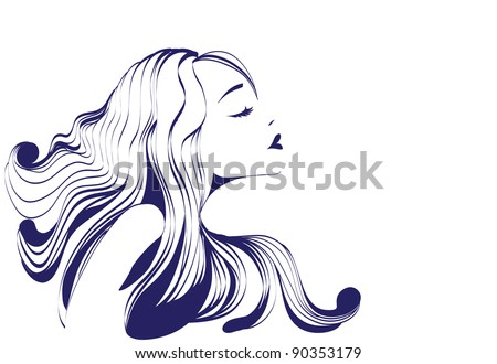 Beautiful  girl with long hair - stock vector