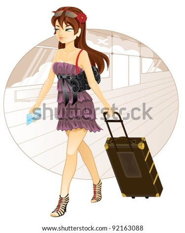 Beautiful girl with luggage traveling - stock vector