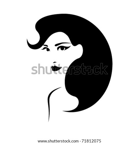 beautiful girl with perfect hairstyle vector - stock vector