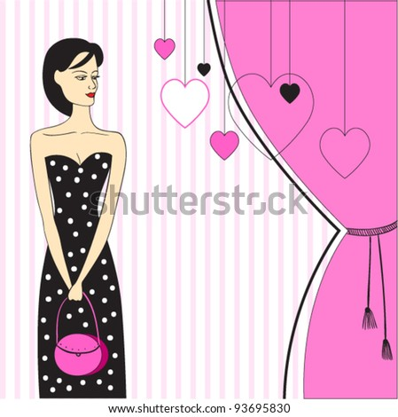 beautiful girl with pink bag. vector
