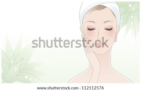 Beautiful girl, young woman touching her face with closed eyes on green lotus flower background. Skin care. Relaxation. Aroma therapy. Beauty care.Clipping mask is used. - stock vector