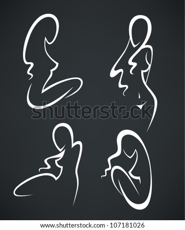 beautiful girls, vector collection of woman silhouettes
