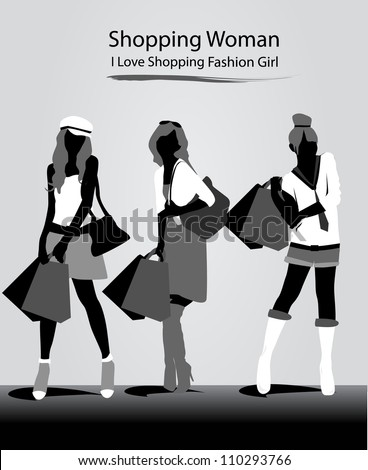 beautiful girls with black and white fashion - stock vector