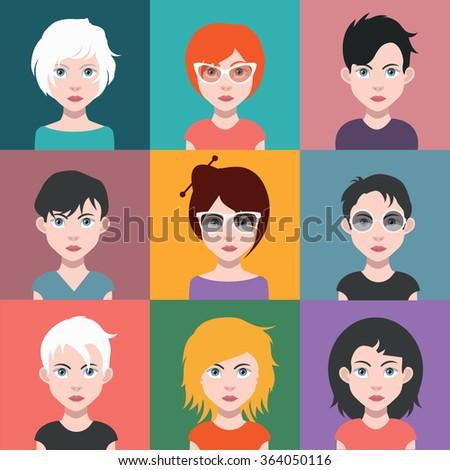 Beautiful Girls, With Hairstyles - stock vector