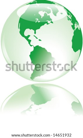 Beautiful glass earth with delicate reflection - vector.  Map from public domain, courtesy of Dave Pape http://www.evl.uic.edu/pape/data/Earth/ - stock vector